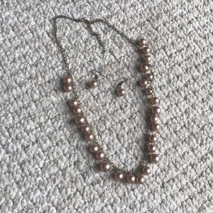 Set of Pink Pearl Necklace and Earrings